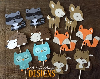 Woodland Animal Cupcake Toppers - Set of 12 - Forest Animal Critters