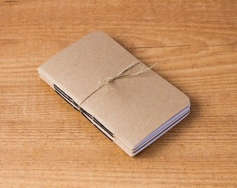 Pocket size inserts, Pack of 3 Kraft notebooks, Midori insert, Travelers notebook, Field notes, Rounded corners, 48 pages