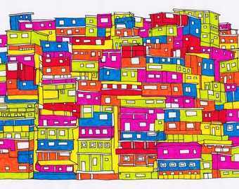 "Art Print - Favelas de Brazil 11x14"" Digital Download"