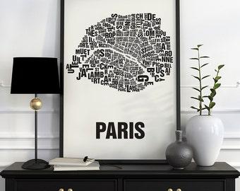 Paris Typographic Map Screen Print