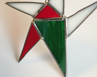 Hand Crafted Stained Glass Star, 6 inch star, Christmas Gift, Red and Green