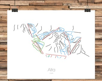 Alta Utah  - Modern Ski Trail Map - Line Drawing