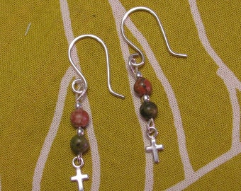 Unakite and Sterling Silver Dangle Earrings