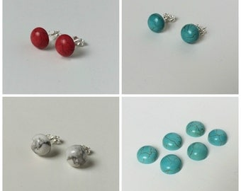 Multipack Studs - Multipack Earrings - Multipack Turquoise Red White Studs - Multipack Howlite Earrings - Howlite Stud Earrings