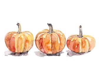 "Watercolor Pumpkins Print - Painting Titled,""Three Pumpkins"", Fall Decor, Orange, Halloween, Pumpkin Decor, Fall Prints, Pumpkin Painting"
