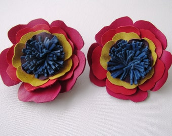 Rainbow leather flower shoe clips, bright flower shoe clips in red, pink, yellow, purple & blue leather, quirky shoe clips, boho flower clip