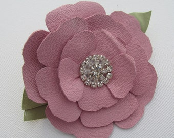Pink leather flower with rhinestones on a croc clip, pink hair clip, pink flower hair clip, leather flower hair accessory, leather hairclip