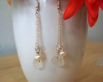 Sterling Silver Cultured Fresh Water Pearl Dangle Earrings