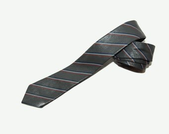 Vintage narrow striped leather necktie