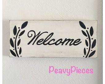Welcome wood sign, welcome sign, hanging welcome sign, front door sign, home sign, welcome to our home, wooden welcome sign, entry way decor