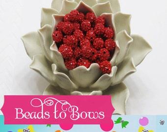 Red 10mm Pave Shamballa beads sparkling rhinestone Disco beads, Polymer clay beads, Bubblegum beads. Bling beads, shinny beads