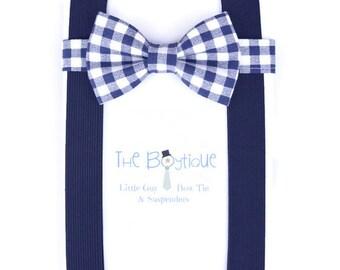 Navy Bow Tie,  Navy Suspenders, Navy Gingham, Dark Blue, Toddler Suspenders, Baby, Kids, Adult, Mens, Teen, Winter Wedding, Ring Bearer Gift