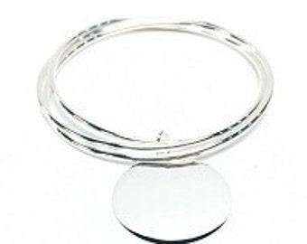 Monogrammed  Bracelet, Silver Bracelet, Triple Bangle Bracelet, Bangel, Stackable