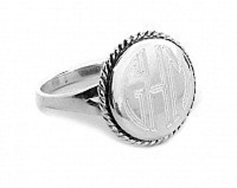 Monogrammed Ring,Sterling Silver Ring, Nautical rope Ring