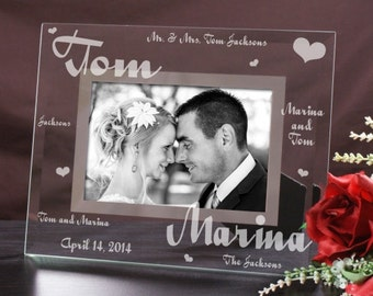 Personalized Couples Wedding Frame, Engraved Frame