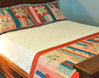 Quilted Bed Runner and  2 Pillow Shams, Chicken Quilt Bed Set, Scrappy Quilt Bedroom Decor, Whimsical Rise and Shine Country Primitive Decor
