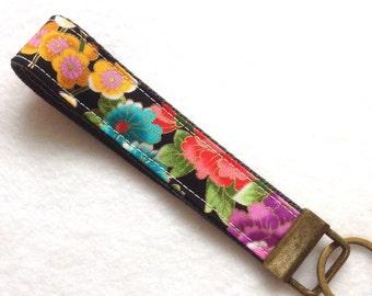 Wristlet Key Fob, Fabric Key Chain, black, colorful frolal, Japanese kimono pattern Fabric key fob,wristlet