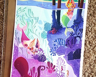 "Purrmaids! Mermaid cat underwater scene with fish and octopus artwork Fine Art Print 6.5x19"""