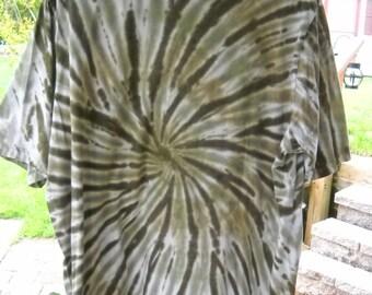 Mens King Size 2XL Army Green Tye Dye Tee Shirt...Awesome!