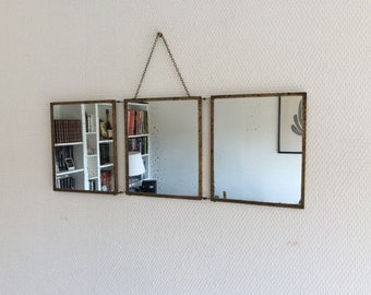 French barber mirror / Tryptich midcentury