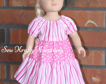 "Pink Stripes and Spots Doll Dress for 18"" doll like American Girl"
