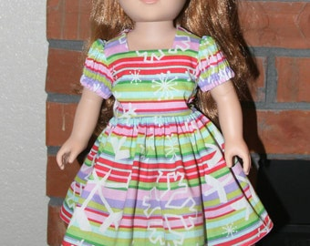 """Striped with Snowflakes Doll Dress for 18"""" doll like American Girl"""