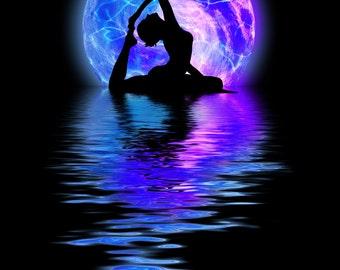 MYSTICAL MOON T-Shirt yoga namaste aum Rainbow Wall Deco Hindu Buddha Om Spirit Seed Universe Reflective Water Ocean ohm