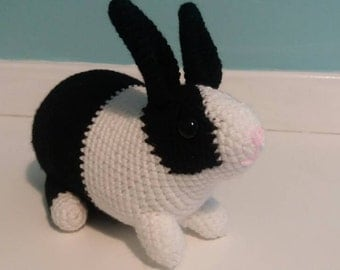 Customisable Crocheted Dutch Rabbit Soft Toy, bunny CE marked, black and white grey, brown, made to order stuffy custom gift present child