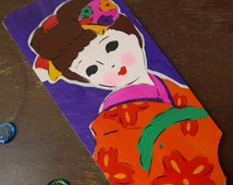 """VINTAGE Wooden Paddle , Traditional Japanese Toy """" Hagoita """", Hand Painted , Pretty Girl Motif , For """" Hanetsuki """", Home Decor , Collectible"""