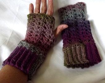 Crochet Fingerless Gloves, Texting Gloves, Purple, Green, Boho, Shabby Chic, Lacy,  Wool