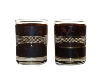 Pair of Vintage Georges Briard Glasses Rocks Lowballs Tumblers In Marble Faux Tortoiseshell Lattice Pattern