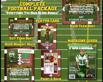 2016 Complete Football Template Package - Includes: Player Trading Card, Memory Mate, Magazine Cover, Team Shot  Photoshop Templates PIGSKIN