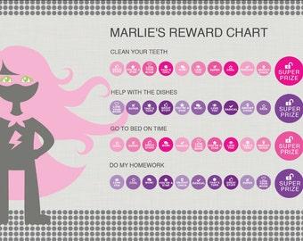 Girl Superhero Reward chart instant download