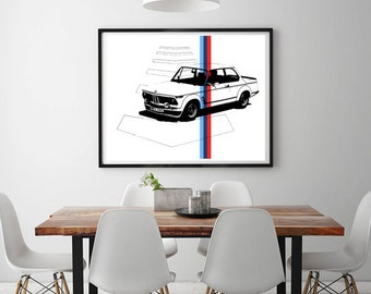 "BMW 2002 Turbo Printable Art, Classic Car, Garage Decor, Retro BMW, Vintage Car, BMW Car Art, Instant Download, 8 x 10"", 14 x 11"", 22 x 28"""
