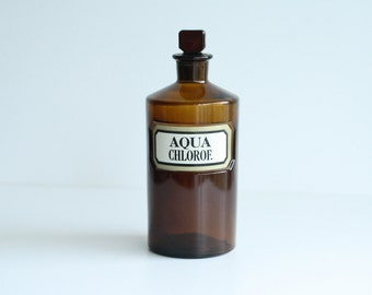 Antique Bottle Chemist Aqua Chlorof 20cm brown bottle