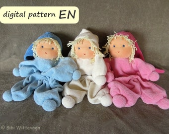Pattern with instruction in English for waldorf cuddle doll 'Jippie', PDF download. Cuddle doll for children.