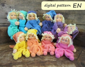 Pattern with instruction in English for dolls with magnetic hands '2 Noesjes', PDF download.