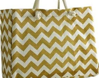 Gold Chevron Jute Tote Bag*Monogrammed Tote*Bridesmaid Totes*Beach Bag*Gym Bag*Diaper Bag*Monogrammed Bag*Teacher Tote