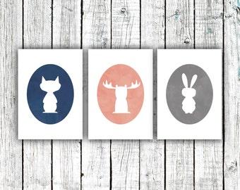 Nursery Art Printables, Woodland Animals, Nursery Decor, Watercolor, Animals, Digital Download Set of three 5x7s #531