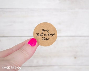 """Custom Stickers - Custom Labels - 1.5"""" Circle Stickers - Set of 48 - Personalized Labels - Kraft Stickers - S0107-2"""