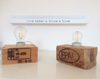Solid recycled pallet wood block lamp
