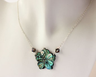 Carved Abalone Plumeria Necklace, Frangipani Carved Abalone Necklace, Hawaiian Plumeria Abalone Necklace, Tropical Abalone Necklace