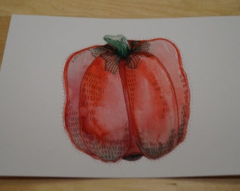 Abstract red pepper 5 x 7 original watercolor painting
