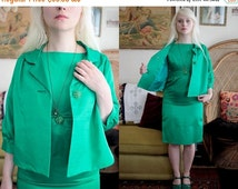 SALE Emerald Green 60s Cocktail Dress with Matching Jacket S