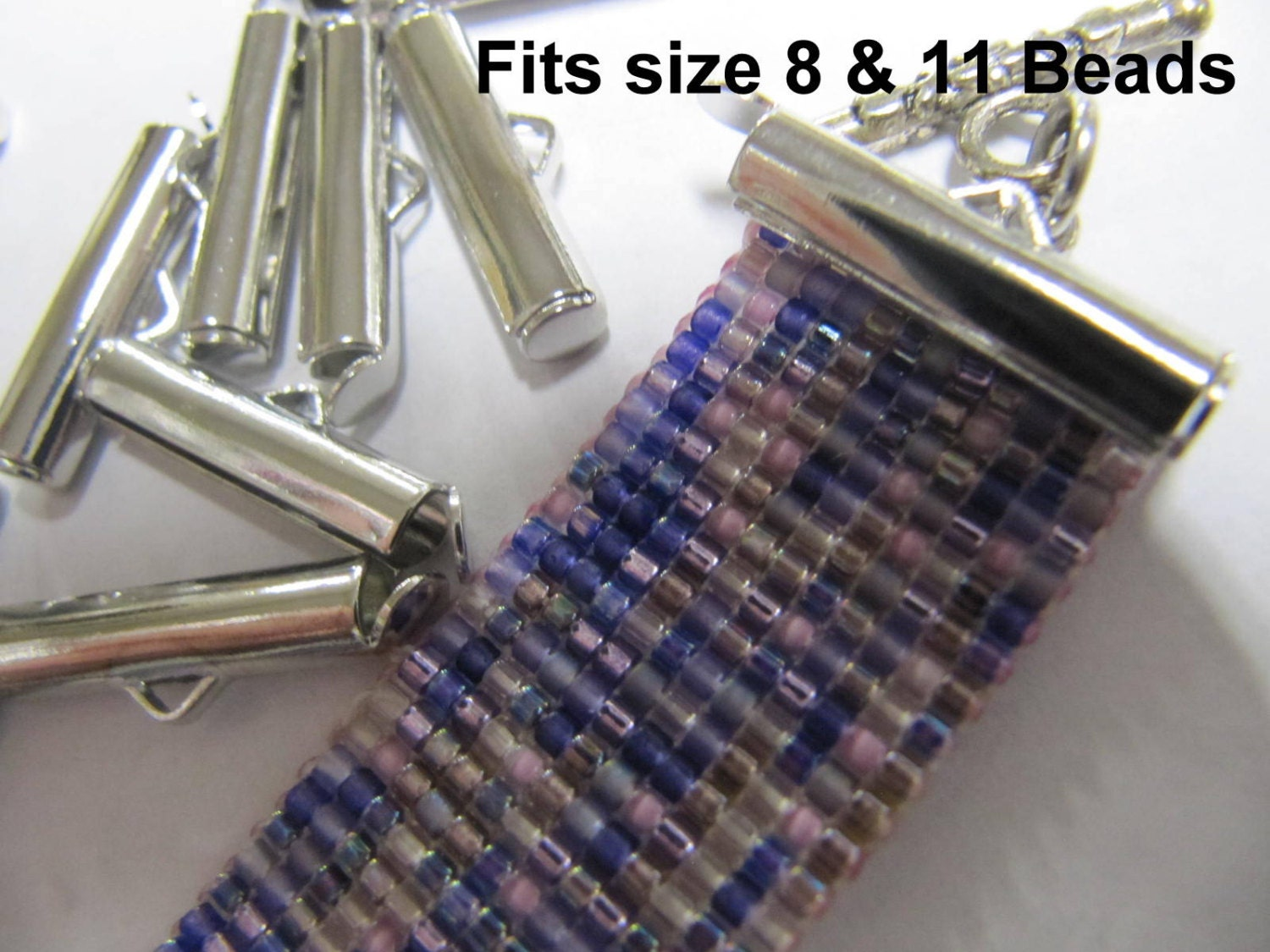 End Caps Slider Clasps, 3/4 inch Silver Color, Loom Bead Patterns, Loom Findings, 6 or 12 Pack, Fits Size 8 Or 11 Beads, Clean and Neat