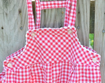 80s Toddler Girl Overalls Red White Gingham Dungarees Health-Tex 18 Months