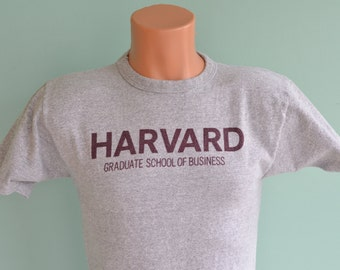 80s T-Shirt Harvard Graduate School of Business Champion Medium Heather Grey Rayon Tee