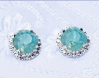 Crystal Bridal Jewelry. PACIFIC OPAL Crystal Bridal Earrings. Rose Silver Gold Wedding Earrings. Blue Green Swarovski Crystals. Bridesmaids.