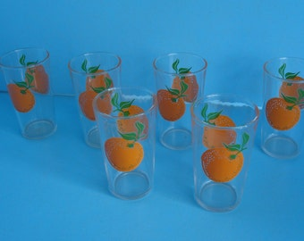 1930'S Set of 6 +1 Juice Glasses with Oranges never used