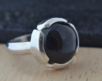 Black Onyx Cabochon Ring In Sterling Silver